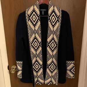 LRL Soft Tribal Navy Shawl Cardigan